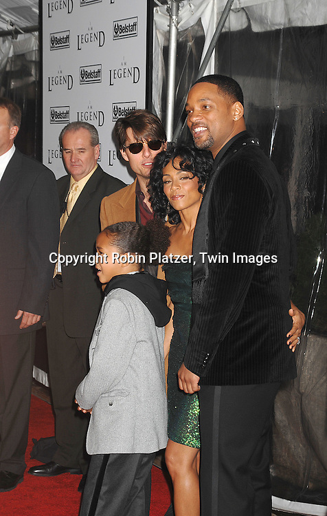 "Tom Cruise with Jaden, Jada Pinkett-Smith and Will Smith.arriving at The New York Premiere of""I Am Legend"" on .December 11, 2007 at The Theatre at Madison Square Garden. The movie stars Will Smith. .Robin Platzer, Twin Images"