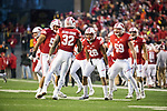 Wisconsin Badgers teammates celebrate during an NCAA College Big Ten Conference football game against the Iowa Hawkeyes Saturday, November 11, 2017, in Madison, Wis. The Badgers won 38-14. (Photo by David Stluka)