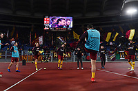 AS Roma players during warm up under their supporters ahead the Serie A 2018/2019 football match between AS Roma and FC Internazionale at stadio Olimpico, Roma, December, 2, 2018 <br />  Foto Andrea Staccioli / Insidefoto