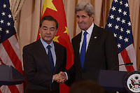 Washington, DC - February 23, 2016: U.S Secretary of State John Kerry (r) and Chinese Foreign Minister Wang Yi shake hands after a press availability in the Ben Franklin Room of the U.S. Department of State in the District of Columbia, February 23, 2016.  (Photo by Don Baxter/Media Images International)