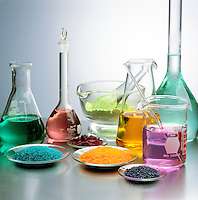 LABGLASS CONTAINING TRANSITION METAL COMPOUNDS<br /> (Variations Available)<br /> Solids & Solutions in Mortar, Flasks & Watchglass<br /> Pyrex and Kimax borosilicate glassware which is in a range of heat- and chemical-resistant glasses prepared by fusing together boron(III) oxide, silicon dioxide, and, usually, a metal oxide.