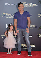 LOS ANGELES, CA. April 4, 2016. TV presenter Mario Lopez &amp; daughter Gia at the world premiere of &quot;The Jungle Book&quot; at the El Capitan Theatre, Hollywood.<br /> Picture: Paul Smith / Featureflash
