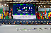 United States President Barack Obama delivers remarks and participates in Session One: Investing in Africa's Future, during the Africa Leaders Summit at the State Department in Washington DC, August 6, 2014. Obama is promoting business relationships between the United States and African countries during the three-day U.S.-Africa Leaders Summit, where 49 heads of state are meeting in Washington.  <br /> Credit: Molly Riley / Pool via CNP