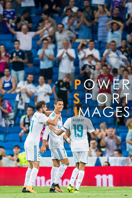 Borja Mayoral Moya (l) of Real Madrid celebrates with teammate Cristiano Ronaldo (c) during the Santiago Bernabeu Trophy 2017 match between Real Madrid and ACF Fiorentina at the Santiago Bernabeu Stadium on 23 August 2017 in Madrid, Spain. Photo by Diego Gonzalez / Power Sport Images