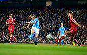 9th January 2018, Etihad Stadium, Manchester, England; Carabao Cup football, semi-final, 1st leg, Manchester City versus Bristol City; Kevin De Bruyne of Manchester City fires a shot on goal