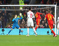 19th November 2019; Cardiff City Stadium, Cardiff, Glamorgan, Wales; European Championships 2020 Qualifiers, Wales versus Hungary; Aaron Ramsey of Wales scores Wales' first goal with this header making it 1-0 in the 15th minute - Editorial Use