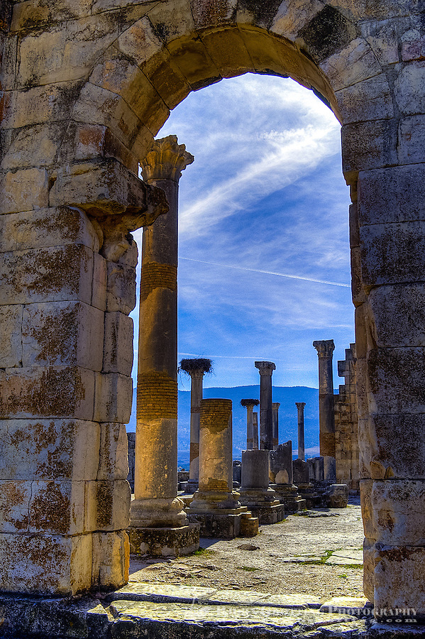 A gate. Volubilis is an archaeological roman site in Morocco situated near Moulay Idriss.