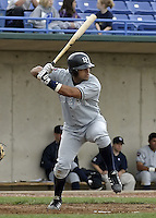 April 21, 2004:  Catcher Omir Santos of the Battle Creek Yankees, Midwest League low-A affiliate of the New York Yankees, during a game at Memorial Stadium in Fort Wayne, IN.  Photo by:  Mike Janes/Four Seam Images