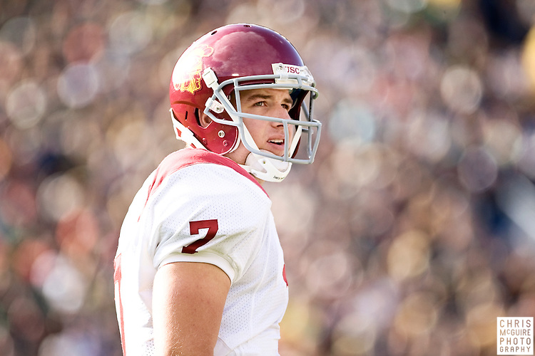 10/17/09 - South Bend, IN:  USC quarterback Matt Barkley gets a play from the sideline during their game at Notre Dame Stadium on Saturday.  USC won the game 34-27 to extend its win streak over Notre Dame to 8 games.  Photo by Christopher McGuire.