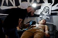 Roma 05/05/2017. Palazzo delle Esposizioni. International Tattoo Expo 2017. La manifestazione accoglie alcuni tra i più' grandi tatuatori provenienti da tutto il mondo.<br /> Rome May 5th 2017. International Tattoo Expo 2017. The meeting gathers some of the most famous tattoo artists from all over the world.<br /> Foto Samantha Zucchi Insidefoto