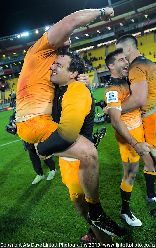 Jaguares' Agustin Creevy and Julian Montoya (left) celebrate winning the Super Rugby match between the Hurricanes and Jaguares at Westpac Stadium in Wellington, New Zealand on Friday, 17 May 2019. Photo: Dave Lintott / lintottphoto.co.nz