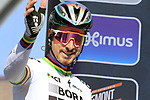 World Champion Peter Sagan (SVK) Bora-Hansgrohe on stage at sign on for Gent-Wevelgem in Flanders Fields 2017, running 249km from Denieze to Wevelgem, Flanders, Belgium. 26th March 2017.<br /> Picture: Eoin Clarke | Cyclefile<br /> <br /> <br /> All photos usage must carry mandatory copyright credit (&copy; Cyclefile | Eoin Clarke)