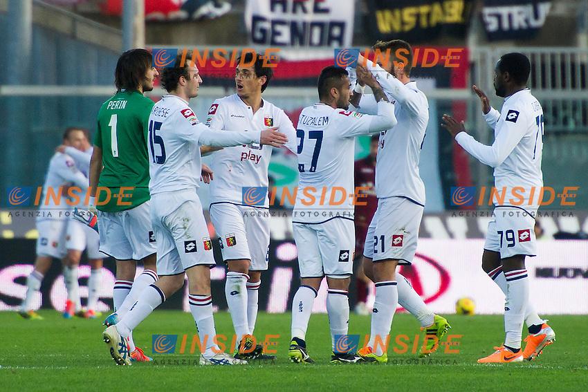 Esultanza Genoa Celebration <br /> Livorno 09-02-2014 Stadio Amando Picchi - Football Calcio Serie A 2013/2014 Livorno - Genoa Foto Andrea Masini / Insidefoto