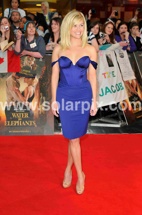 **ALL ROUND PICTURES FROM SOLARPIX.COM**                                             **WORLDWIDE SYNDICATION RIGHTS**                                                                                  Caption: The UK premiere of the new movie, Water for Elephants, held at the Vue Westfield in London, UK. 3 May 2011                                                                      This pic: Reese Witherspoon                                                                                             JOB REF: 13259 MSR       DATE: 03_05_2011                                                           **MUST CREDIT SOLARPIX.COM OR DOUBLE FEE WILL BE CHARGED**                                                                      **MUST AGREE FEE BEFORE ONLINE USAGE**                               **CALL US ON: +34 952 811 768 or LOW RATE FROM UK 0844 617 7637**