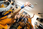 Herbalife Gran Canaria's player Pablo Aguilar takes a selfie with the team during the celebration of the victory at the final of Supercopa of Liga Endesa Madrid. September 24, Spain. 2016. (ALTERPHOTOS/BorjaB.Hojas)