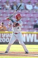 Isiah Kiner-Falefa #4 of the Spokane Indians bats against the Salem-Keizer Volcanoes at Volcanoes Stadium on July 26, 2014 in Keizer, Oregon. Spokane defeated Salem Keizer, 4-1. (Larry Goren/Four Seam Images)