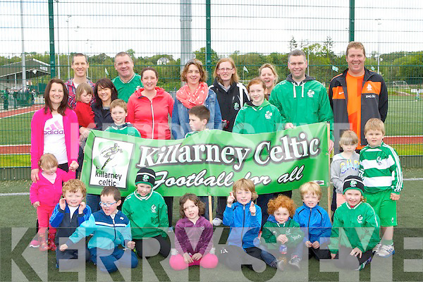 Killarney Celtic members who walked the distance from Killarney to Tallaght in laps around Celtic Park to raise funds for their trip to the Naional blitz on Sunday
