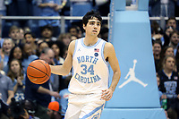 CHAPEL HILL, NC - MARCH 03: Robbie O'Han #34 of the University of North Carolina brings the ball up the court during a game between Wake Forest and North Carolina at Dean E. Smith Center on March 03, 2020 in Chapel Hill, North Carolina.