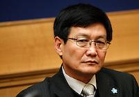 Kim Tae Jin, ex prigioniero del campo di concentramento nordcoreano di Yodok, ritratto durante una conferenza stampa sulla questione dei diritti umani in Corea del Nord, a Roma, 6 marzo 2012. Detenuto nel campo di concentramento di Yodok, Corea del Nord dal 1992 al 1997, dopo la sua fuga in Cina e poi in Corea del Sud, si batte per la promozione dei diritti umani in Corea del Nord..North Korean former prisoner of Yoduk's facility Kim Tae Jin is portrayed during a press conference on human rights in North Korea, in Rome, 6 march 2012. Tae Jin, who was interned from 1992 to 1997, escaped to China and then to South Korea..UPDATE IMAGES PRESS/Riccardo De Luca