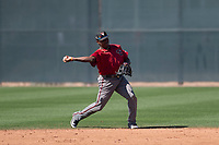 Arizona Diamondbacks second baseman Henry Castillo (8) makes a throw to first base during a Spring Training game against Meiji University at Salt River Fields at Talking Stick on March 12, 2018 in Scottsdale, Arizona. (Zachary Lucy/Four Seam Images)