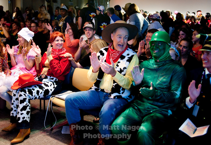 Southwest Airlines Chief Executive Officer and President Gary Kelly (cq), dressed as Woody from Toy Story, enjoyed skits performed by each department during the Southwest Airlines annual Halloween festivities at the headquarters building near Love Field Airport in Dallas, Texas, Friday, October 29, 2010...PHOTO/ MATT NAGER