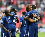 Chelsea's David Luiz celebrates at the final whistle during the premier league match at the Wembley Stadium, London. Picture date 20th August 2017. Picture credit should read: David Klein/Sportimage