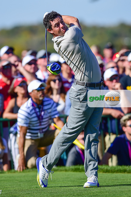 Rory McIlroy (IRL) watches his tee shot on 11 during the Saturday afternoon four ball at the Ryder Cup, Hazeltine National Golf Club, Chaska, Minnesota, USA.  10/1/2016<br /> Picture: Golffile | Ken Murray<br /> <br /> <br /> All photo usage must carry mandatory copyright credit (&copy; Golffile | Ken Murray)