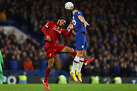 3rd March 2020; Stamford Bridge, London, England; English FA Cup Football, Chelsea versus Liverpool; Olivier Giroud of Chelsea wins a header against Joe Gomez of Liverpool