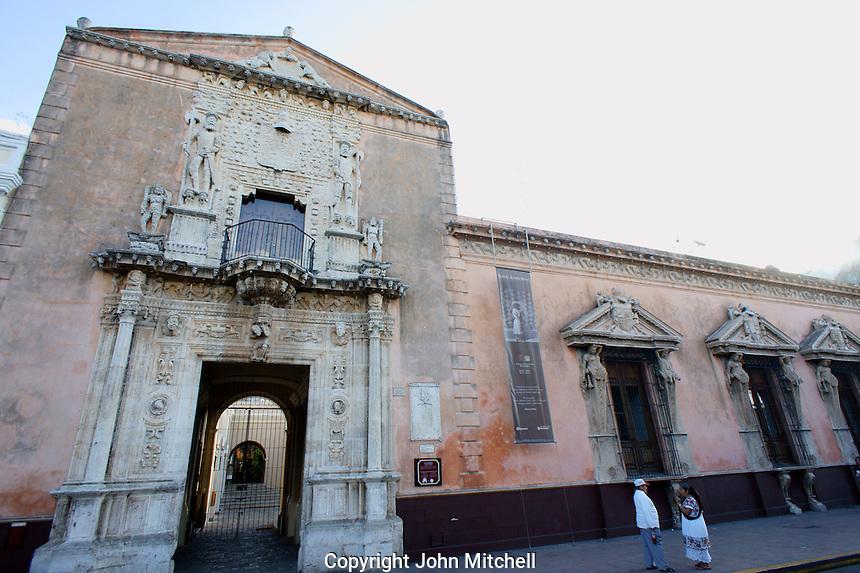 Facade of the Plateresque style Casa de Montejo in downrtown Merida, Yucatan, Mexico....