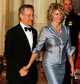 Steven Spielberg and his wife, Kate Capshaw at the White House in Washington, DC for the 1999 National Medal of Arts and Humanities Dinner on September 29, 1999..Credit: Ron Sachs / CNP