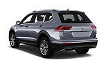 Car pictures of rear three quarter view of a 2018 Volkswagen Tiguan Allspace Highline 5 Door SUV angular rear