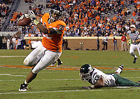 Oct 23, 2010; Charlottesville, VA, USA;  Virginia Cavaliers running back Keith Payne (22) runs past Eastern Michigan Eagles linebacker Marcus English (42) for a touchdown during the 2nd half of the game at Scott Stadium. Virginia won 48-21. Mandatory Credit: Andrew Shurtleff