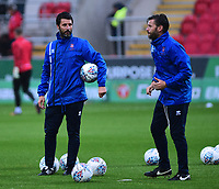 Lincoln City manager Danny Cowley and Nicky Cowley during the pre-match warm-up <br /> <br /> Photographer Andrew Vaughan/CameraSport<br /> <br /> The Carabao Cup First Round - Rotherham United v Lincoln City - Tuesday 8th August 2017 - New York Stadium - Rotherham<br />  <br /> World Copyright &copy; 2017 CameraSport. All rights reserved. 43 Linden Ave. Countesthorpe. Leicester. England. LE8 5PG - Tel: +44 (0) 116 277 4147 - admin@camerasport.com - www.camerasport.com