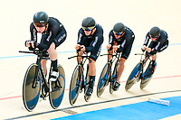 Picture by Alex Whitehead/SWpix.com - 10/12/2017 - Cycling - UCI Track Cycling World Cup Santiago - Velódromo de Peñalolén, Santiago, Chile - New Zealand's Harry Waine, Campbell Stewart, Jared Gray and Nicholas Kergozou win Gold in the Men's Team Pursuit final.