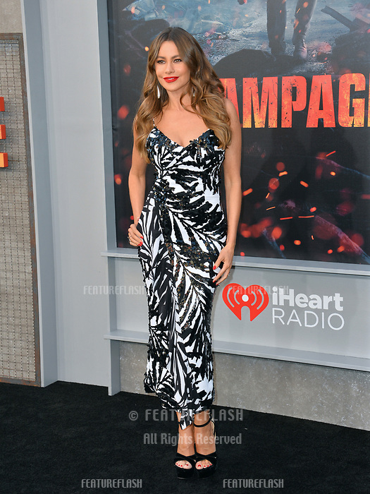 Sofia Vergara at the premiere for &quot;Rampage&quot; at the Microsoft Theatre, Los Angeles, USA 04 April 2018<br /> Picture: Paul Smith/Featureflash/SilverHub 0208 004 5359 sales@silverhubmedia.com
