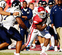 Florida International University Golden Panthers versus the University of Arkansas Razorbacks at Donald W. Reynolds Razorback Stadium, Fayetteville, Arkansas on Saturday, October 27, 2007.  The Razorbacks defeated the Golden Panthers, 58-10...Arkansas free safety Kevin Woods (3) returns an interception in the third quarter.
