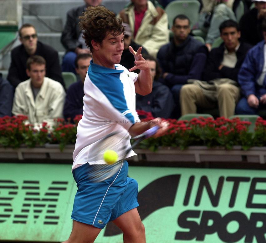 Photo. Richard Lane. .Roland Garros 2002, French Open Tennis. 27/5/2002.Richard Gasquet of France