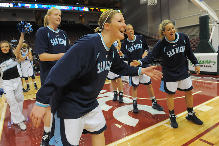 LAS VEGAS, NV - MARCH 6:  The team of the USD Toreros during USD's 73-64 win over the USF Dons at the Orleans Arena on March 6, 2009 in Las Vegas, Nevada.