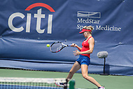 Washington, DC - August 5, 2017: Eugenie Bouchard (CAN) in action during the match at Rock Creek Park Tennis Center in Washington, DC. (Photo by Elliott Brown/Media Images International)