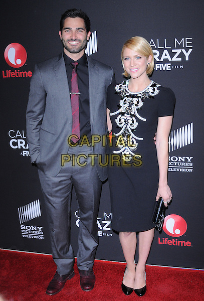 """Tyler Hoechlin & Brittany Snow.World Premiere Of The Lifetime Original Movie Event """"Call Me Crazy: A Five Film"""" Held At The Silver Screen Theater Pacific Design Center, Los Angeles, California, USA..April 16th, 2013   .full length dress clutch bag black white beads beaded red tie grey gray shirt stubble facial hair couple                                                         .CAP/DVS.©DVS/Capital Pictures"""