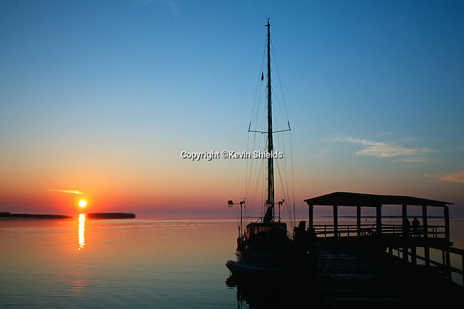 Boat at sunrise, Apalchicola, Florida, USA