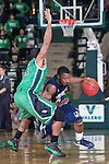 North Texas Mean Green guard P.J. Hardwick (4) and Jackson State Tigers guard Keeslee Stewart (11) in action during the game between the Jackson State Tigers and the North Texas Mean Green at the Super Pit arena in Denton, Texas. UNT defeats Jackson State 83 to 65...