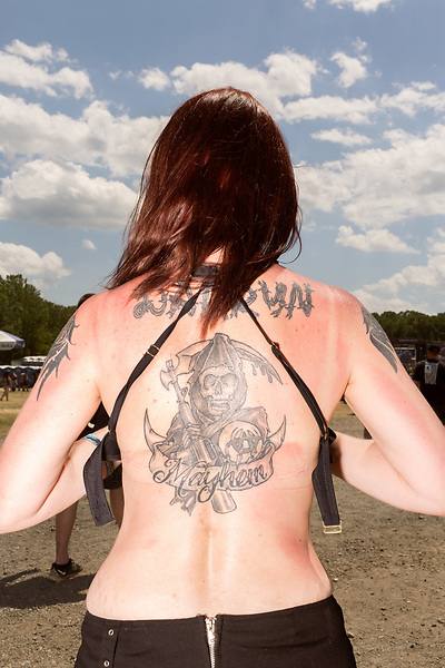 May 8, 2016. Concord, North Carolina. <br />  Fan portraits, Mayhem<br />  The 2016 Carolina Rebellion was held over May 6-8 next to the Charlotte Motor Speedway and featured over 50 bands including headliners Lynyrd Skynyrd, The Scorpions, Five Finger Death Punch, Disturbed, and Rob Zombie.