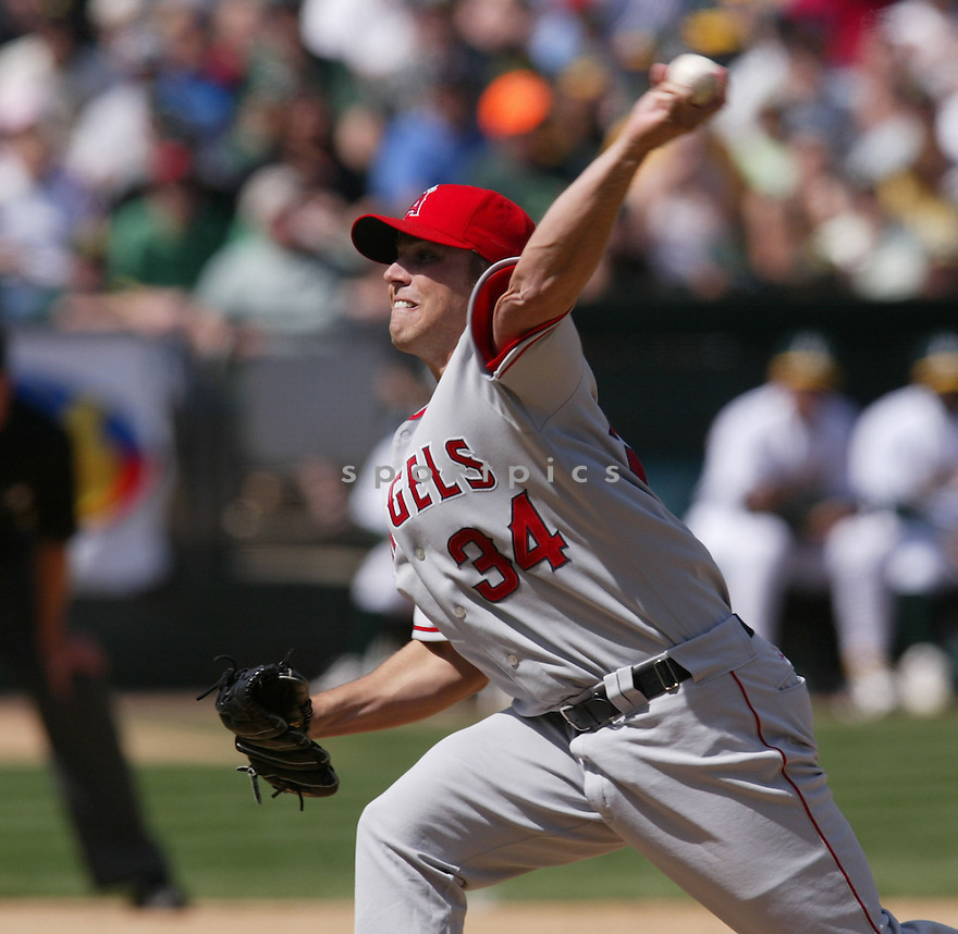 Jake Woods in action during the Los Angeles Angels v. Oakland Athletics game April 16, 2005.....Los Angeles Angels lost 0-1.....Rob Holt/ SportPics