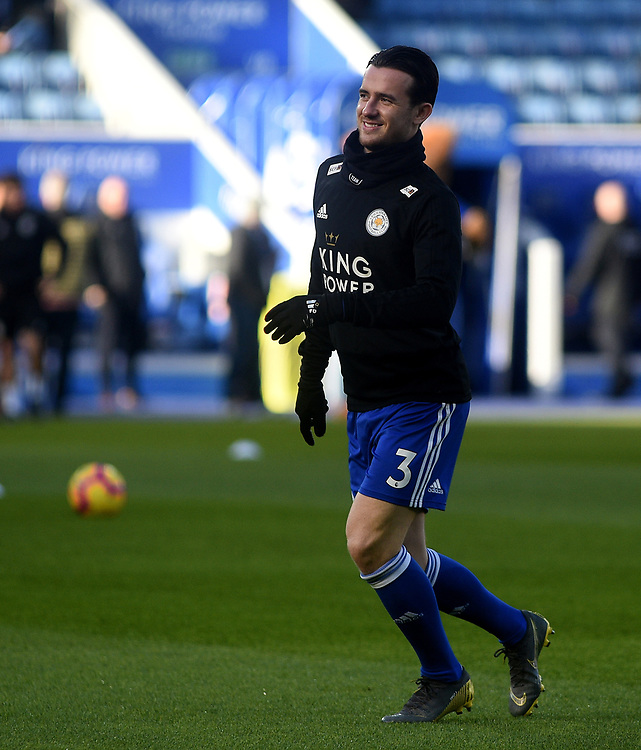 Leicester City's Ben Chilwell during the pre-match warm-up <br /> <br /> Photographer Hannah Fountain/CameraSport<br /> <br /> The Premier League - Leicester City v Manchester United - Sunday 3rd February 2019 - King Power Stadium - Leicester<br /> <br /> World Copyright © 2019 CameraSport. All rights reserved. 43 Linden Ave. Countesthorpe. Leicester. England. LE8 5PG - Tel: +44 (0) 116 277 4147 - admin@camerasport.com - www.camerasport.com