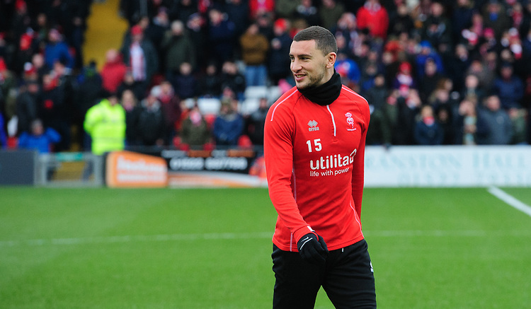 Lincoln City's James Wilson during the pre-match warm-up<br /> <br /> Photographer Chris Vaughan/CameraSport<br /> <br /> The EFL Sky Bet League Two - Lincoln City v Grimsby Town - Saturday 19 January 2019 - Sincil Bank - Lincoln<br /> <br /> World Copyright &copy; 2019 CameraSport. All rights reserved. 43 Linden Ave. Countesthorpe. Leicester. England. LE8 5PG - Tel: +44 (0) 116 277 4147 - admin@camerasport.com - www.camerasport.com