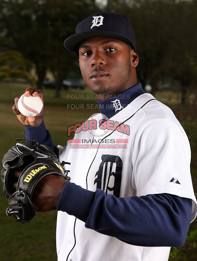 February 27, 2010:  Pitcher Alfredo Figaro (43) of the Detroit Tigers poses for a photo during media day at Joker Marchant Stadium in Lakeland, FL.  Photo By Mike Janes/Four Seam Images