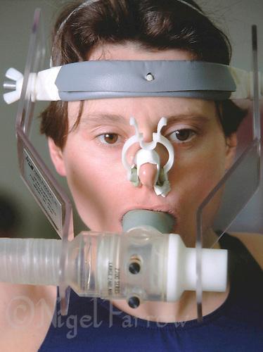 12 JAN 1999 - WOLVERHAMPTON, UK - Steph Forrester undergoes medical testing. (PHOTO (C) NIGEL FARROW)