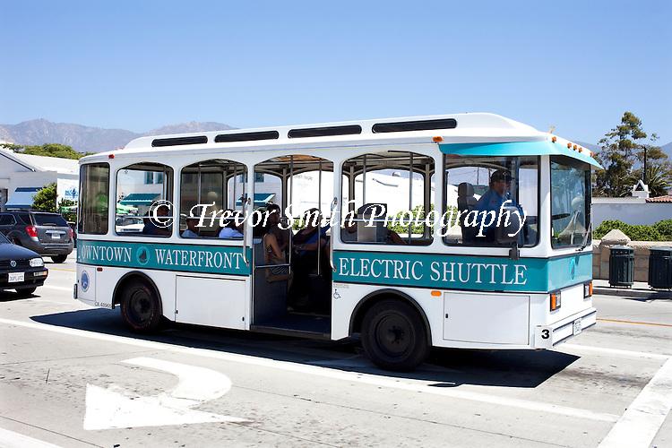 Santa Barbara's Waterfront Downtown  Electric Passenger Transit Bus in California USA