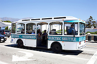 Santa Barbara's Waterfront Downtown  Electric Passenger Transit Bus in California USA
